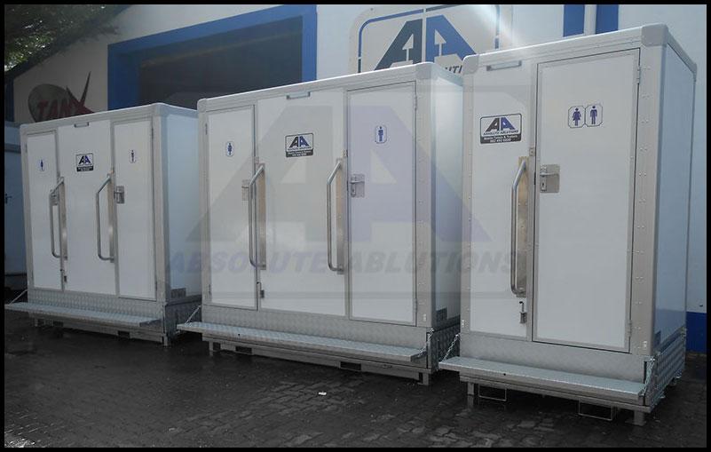 Three white flush box units next to each other