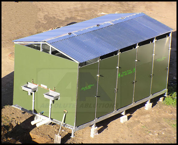 Green Freestand Kayloo Unit at a building or construction site