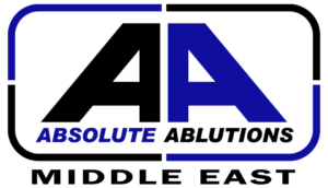 Absolute Ablutions Middle East logo in black and blue colors