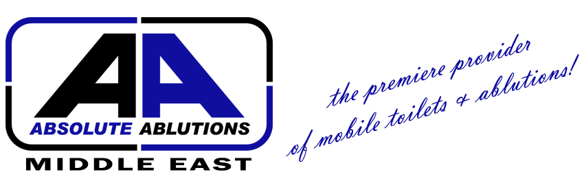 "Absolute Ablutions Middle East logo in black and blue in the footer with a caption saying: ""the premiere provider of mobile toilets and ablutions"""